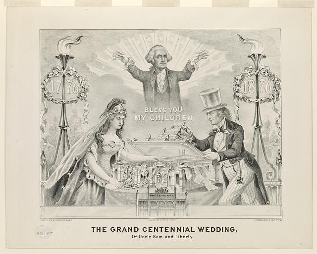 Grand Centennial Wedding of Uncle Sam and Lady Liberty | Circa 1876