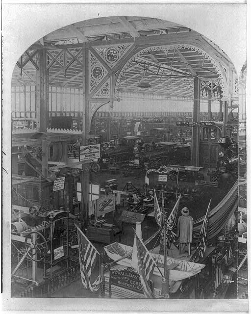 Interior of the Machinery Building at the Centennial Exhibition | Circa 1876