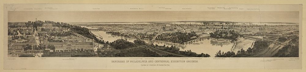 Panorama of Philadelphia and the Centennial Exhibition Grounds | Circa 1876