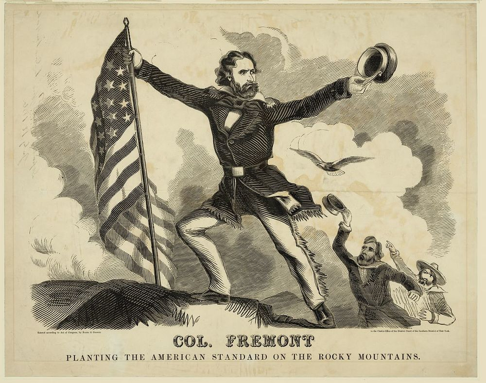 Fremont Planting the American Standard on the Rocky Mountains | Circa 1856