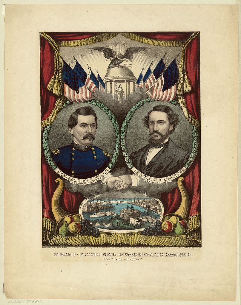 Grand National Democratic Banner. Peace! Union! and Victory! | Circa 1864