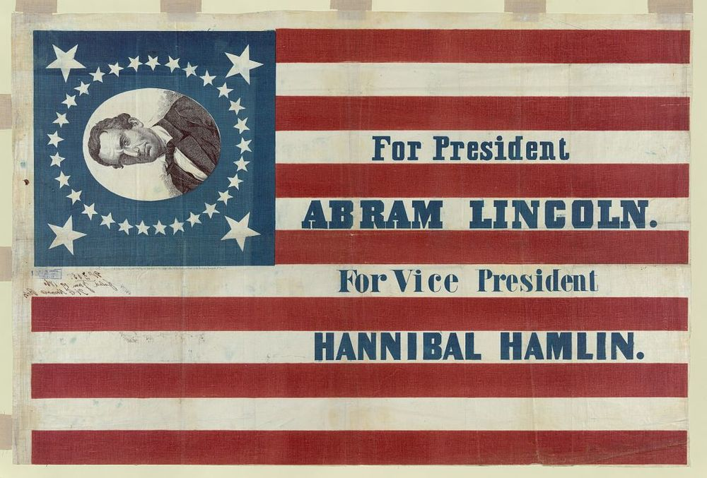 Lincoln and Hamlin Campaign Flag | Circa 1860