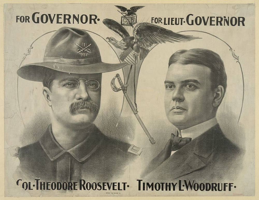 New York State Gubernational Candidate Teddy Roosevelt with Lieutenant Governor Timothy Woodruff | Circa 1898