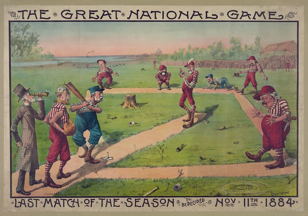 Sandlot Baseball Game with Presidential Hopefuls | Circa 1884