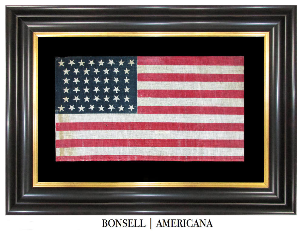 44 Star Antique Flag with Hourglass Star Pattern