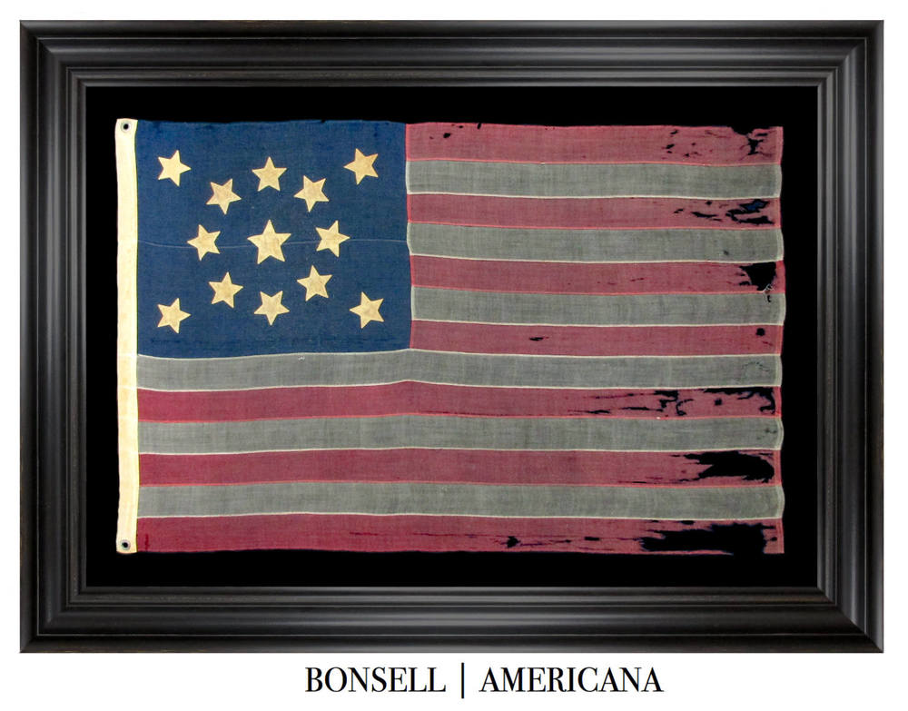 13 Star Antique US Flag with Medallion Star Pattern