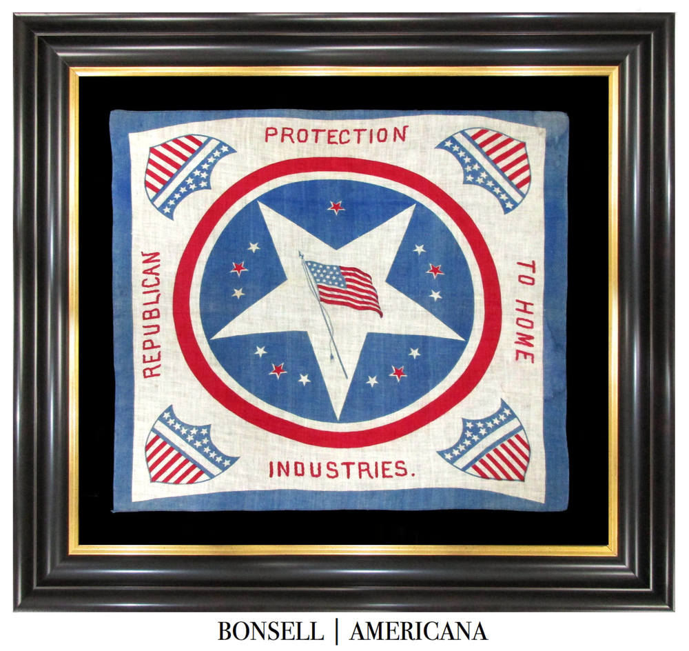 Antique Protection to Home Industries Campaign Bandanna for the Benjamin Harrison Campaign