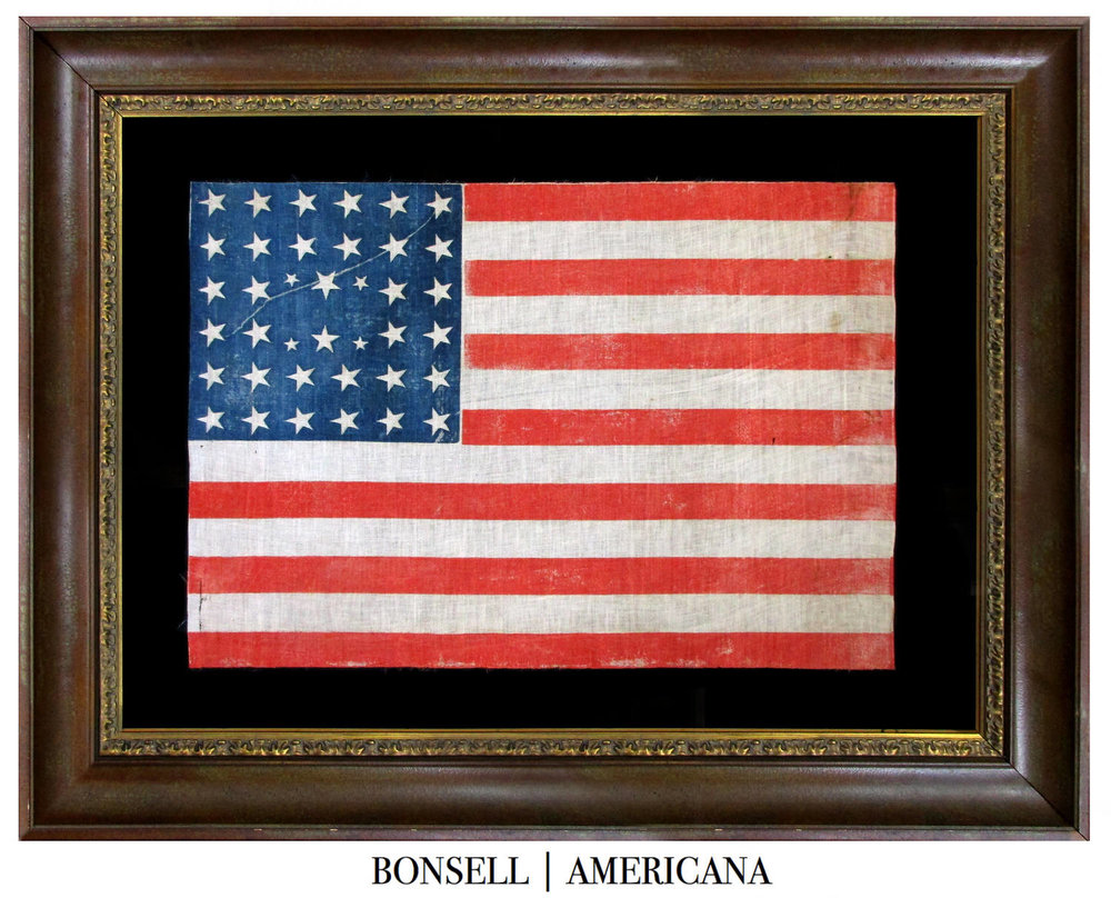 Coming Soon: 38 Star Antique American Flag with a Linear Star Arrangement Comprising Four Tiny Stars