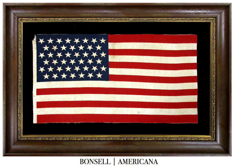 45 Star Antique American Flag with Tumbling Stars