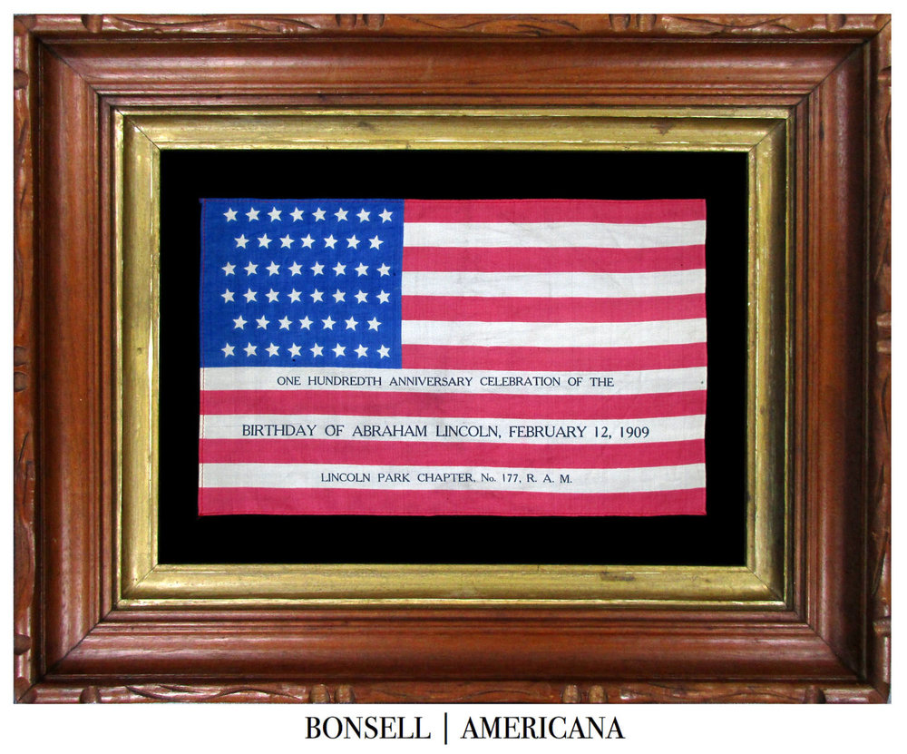 Antique Abraham Lincoln US Flag | Made to Celebrate the One Hundredth Anniversary of Lincoln's Birthday