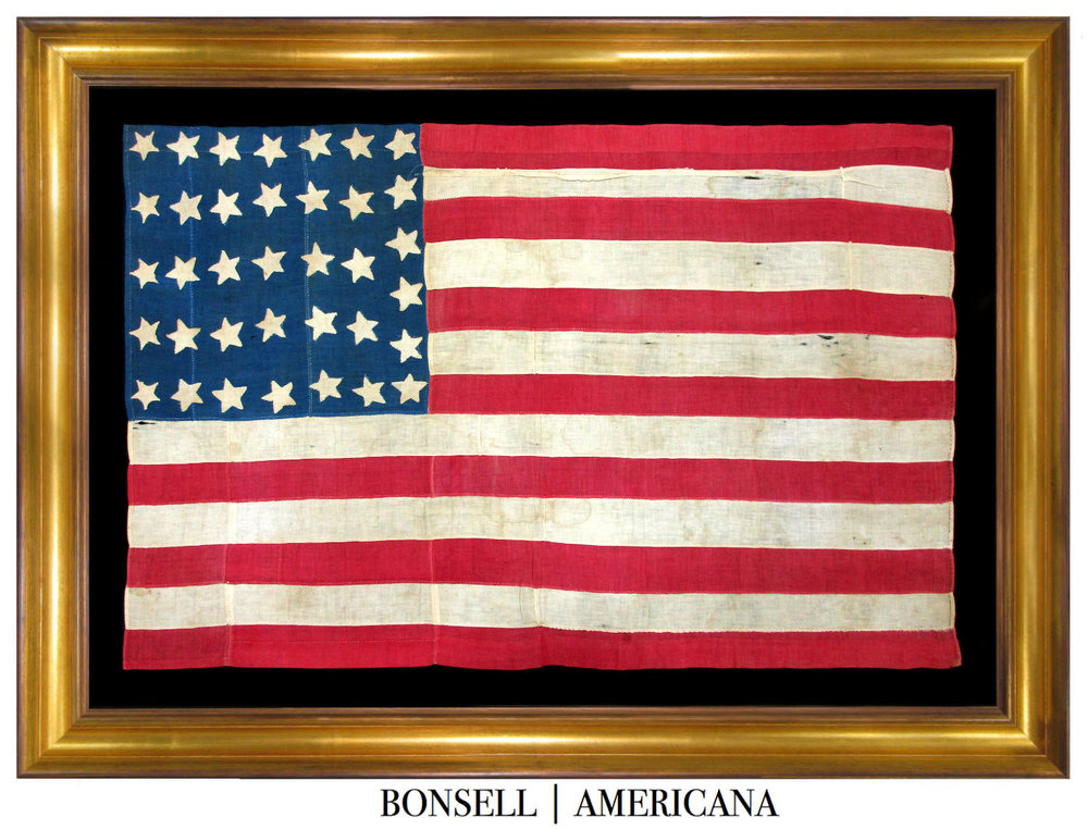 Entirely Hand-sewn 36 Star Antique American Flag