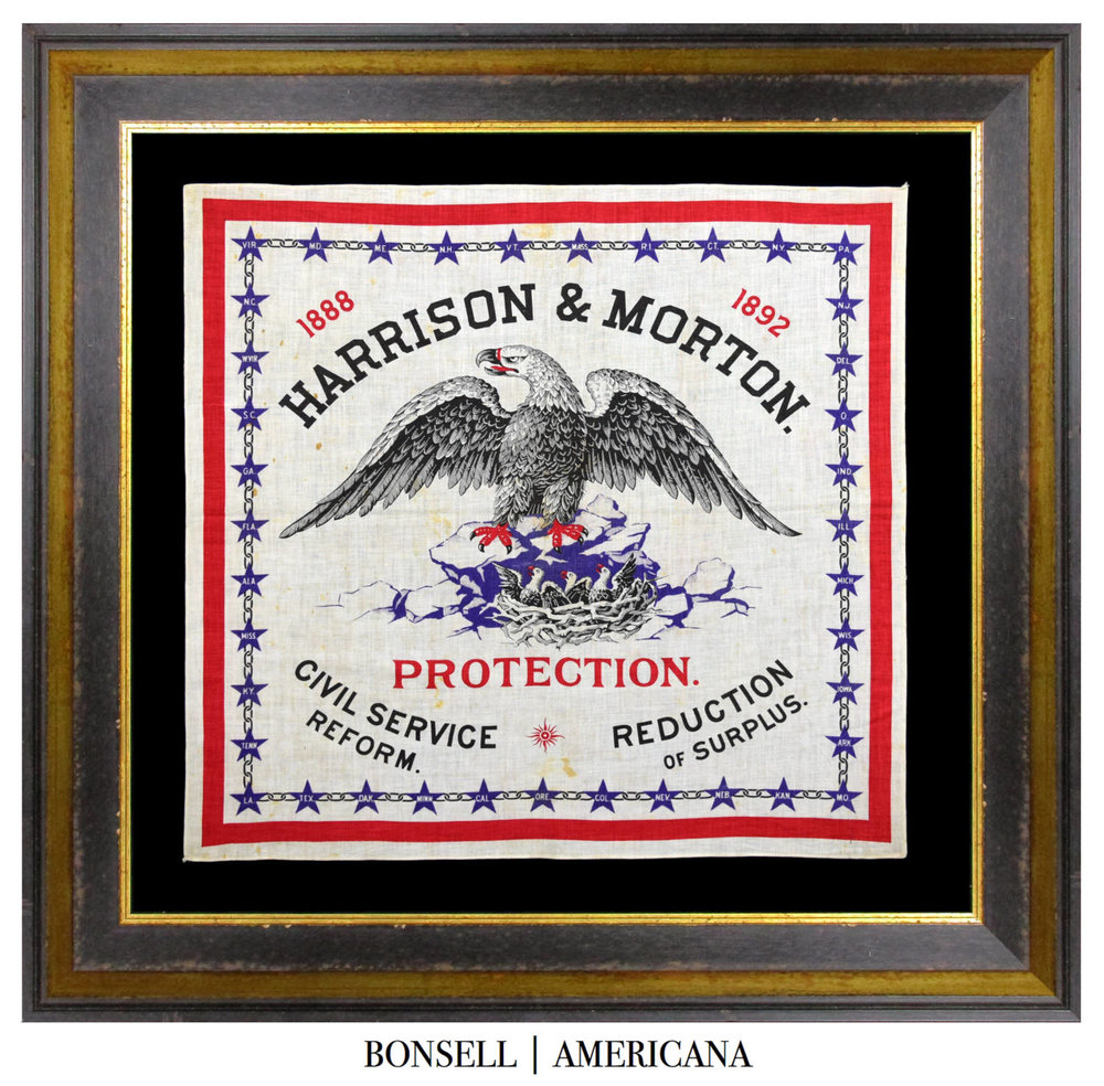 Antique 1888 Harrison and Morton Campaign Bandanna
