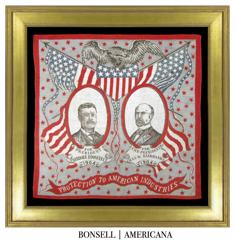 Antique Teddy Roosevelt Campaign Bandanna