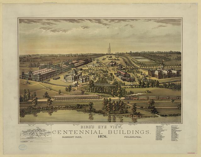 Bird's Eye View of the Centennial Buildings  in Philadelphia 1876.jpg