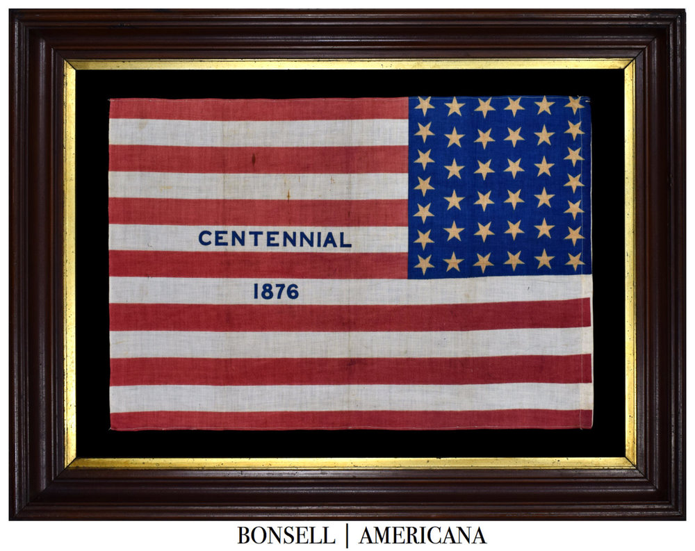 38 Star Antique Flag with Centennial 1876 Overprint