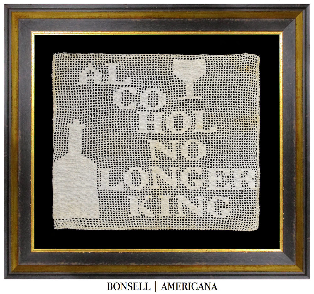 Antique Pro-Prohibition Textile | Alcohol is No Longer King