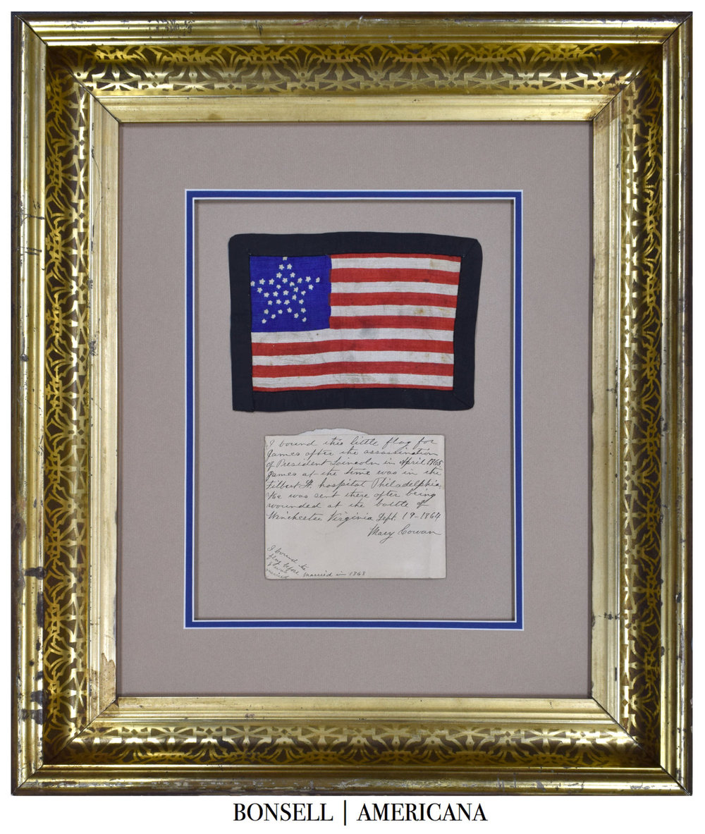 34 Star Antique Flag | An Abraham Lincoln Mourning Flag