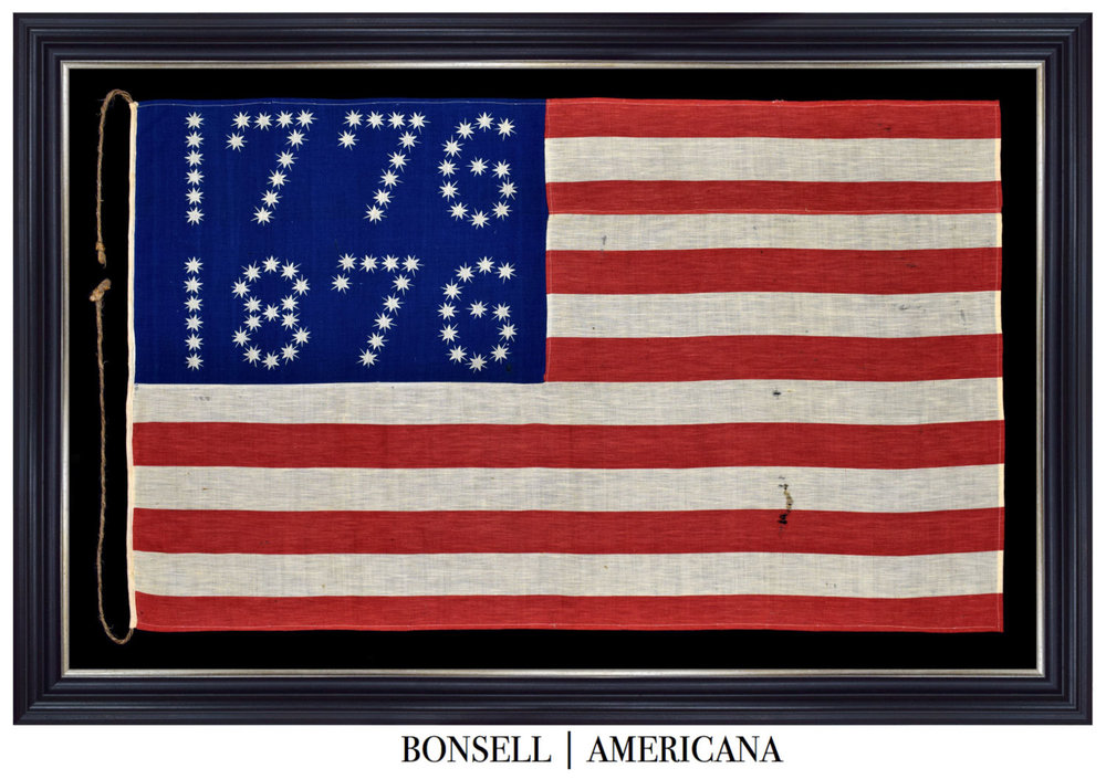 Antique Flag with 1776-1876 Star Pattern