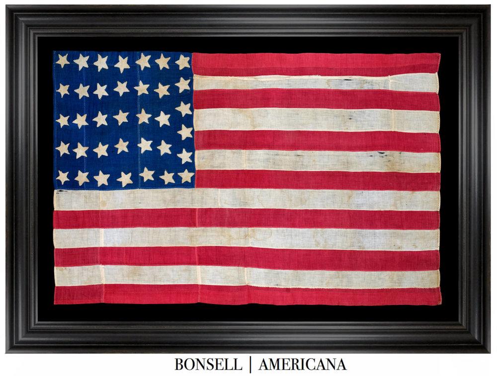 119587721ef 36 Star Antique Handsewn American Flag