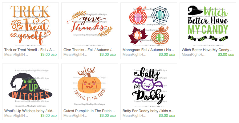 MeanRightHook Fall and Halloween Designs