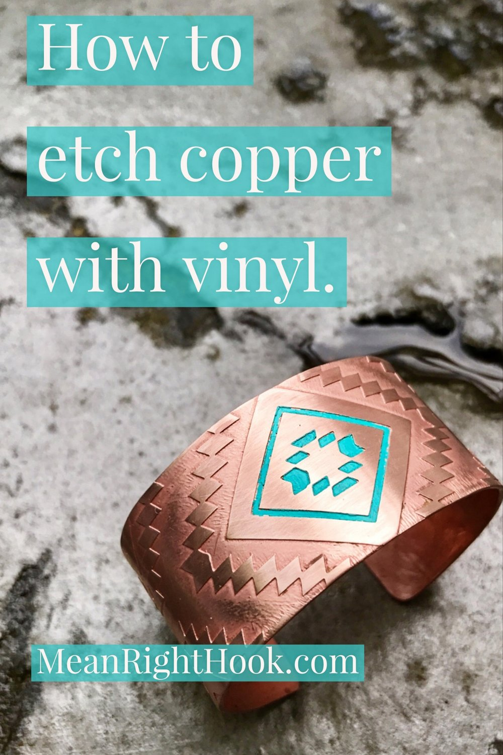 Etching copper with the cricut explore | MeanRightHook.com