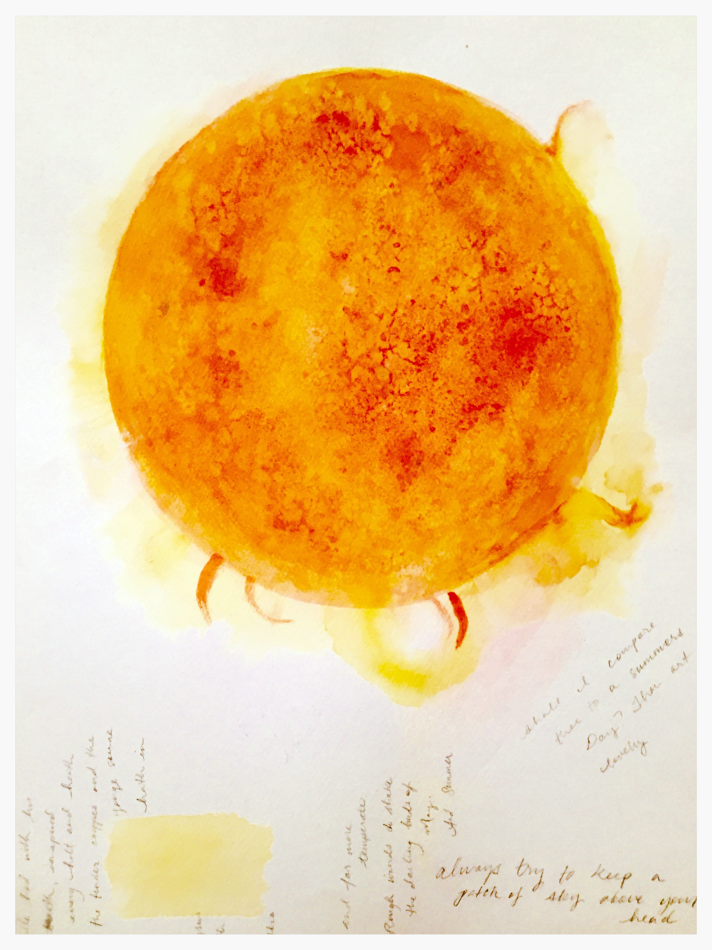 A study of the sun in watercolor for my Celestial Orbs project