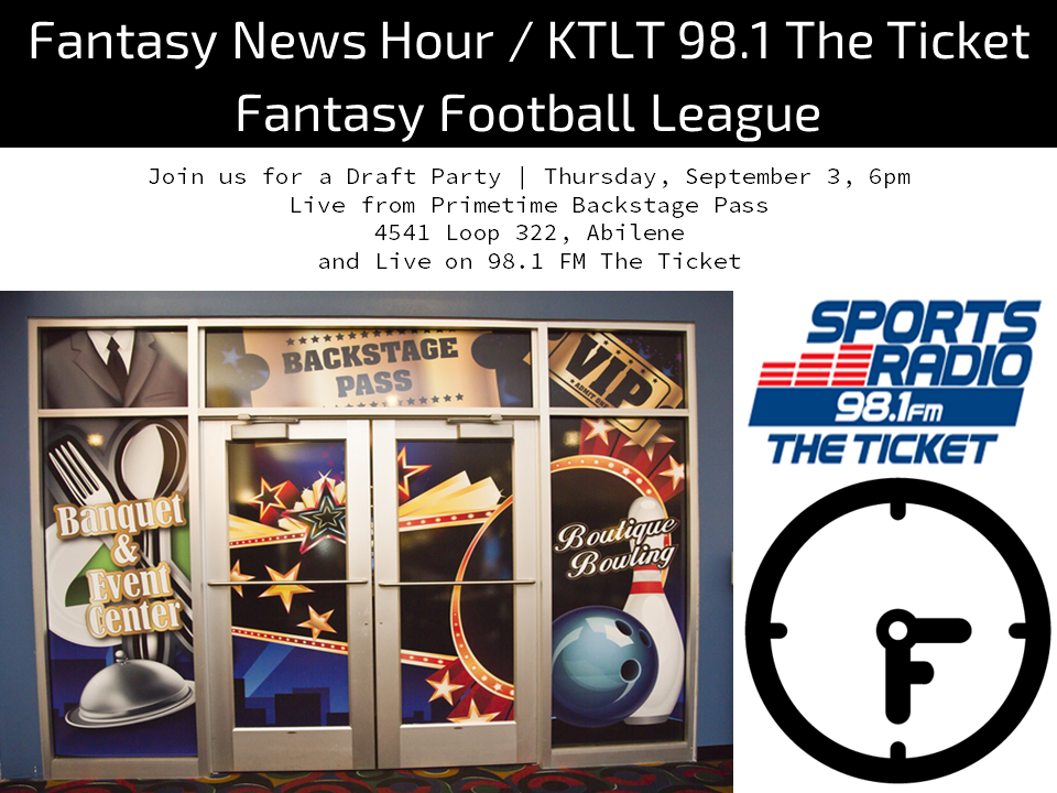 Join the 2015 Fantasy News Hour and KTLT 98.1 The Ticket Fantasy Football League!