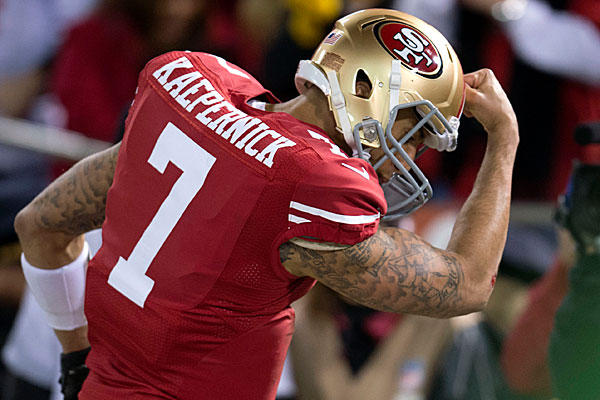San Francisco 49ers Quarterback Colin Kaepernick is a fantasy football waiver wire add.