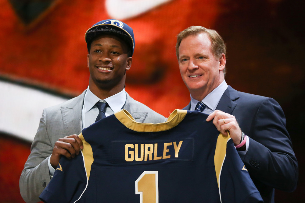 Todd Gurley, St. Louis Rams running back rushed for 144 yards in the second half against the Arizona Cardinals.