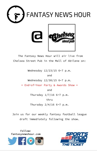 The Fantasy News Hour will broadcast live from Chelsea Street Pub in the Mall of Abilene, so come out and join us for our weekly fantasy football league draft immediately following the show.