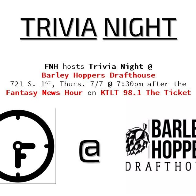 We are hosting a Trivia Night at Barley Hoppers Drafthouse Thurs, 7/7, 7:30pm after the show. Eat, drink, win cold, hard cash.