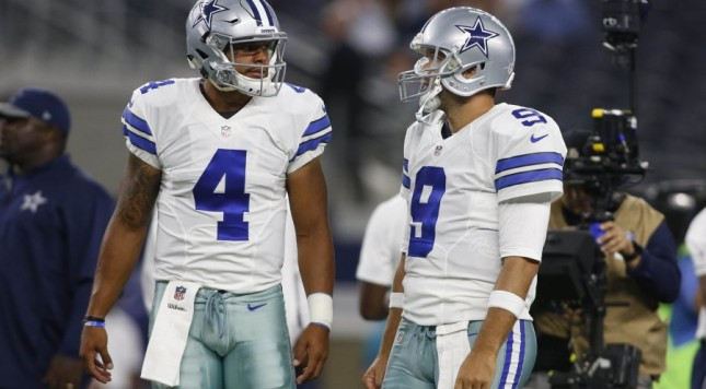 Who will be the Quarterback for the Dallas Cowboys when Tony Romo is cleared to play?