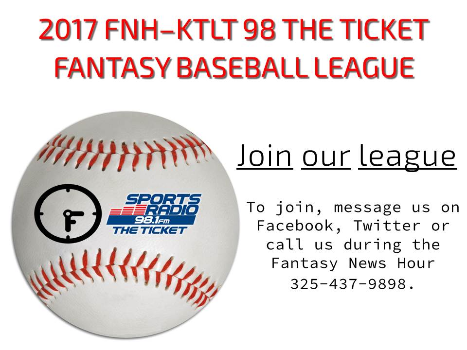 Play in the 2017 Fantasy News Hour-KTLT 98.1 The Ticket Fantasy Baseball League.