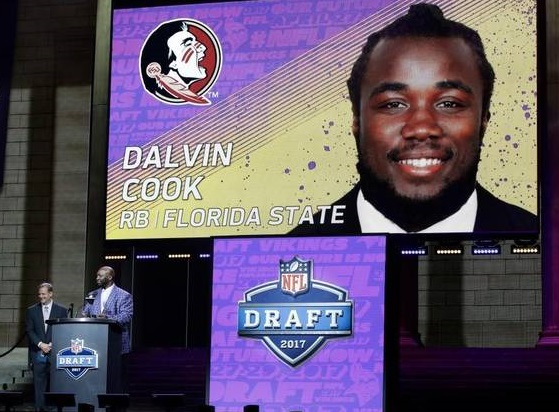 Dalvin Cook (RB-Min) fell to the second round of the 2017 NFL Draft to the Minnesota Vikings.
