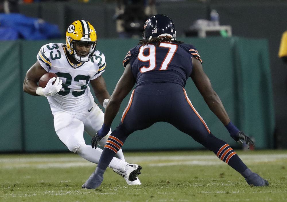 Aaron Jones had a 13 carry 49 yard 1 TD performance against Chicago on Thursday when Ty Montgomery went down with a rib injury.