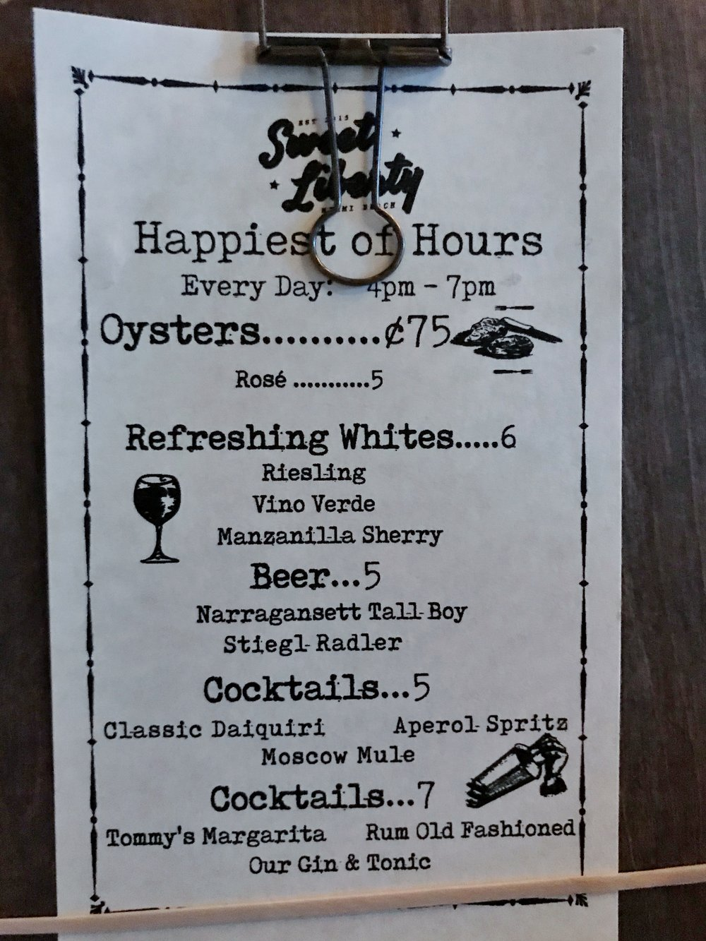 OYSTERS & classic daiquiri on sweet liberty's happy hour menu