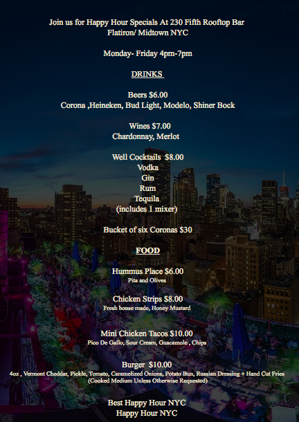 Screenshot of the happy hour menu © 230 Fifth Rooftop Bar