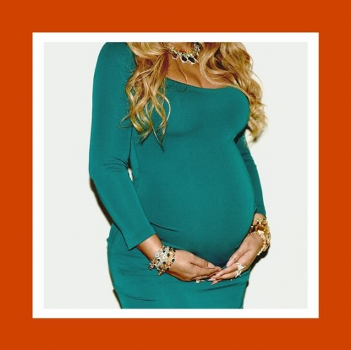 an image of Beyonce Knowles-Carter carrying twins, like my mother,who carried my sister and i. know that this piece is indeed a tribute to her love and strength as our mother.  image source: beyonce.com