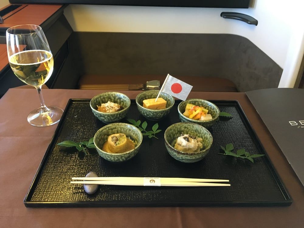 First course of Japanese meal...accompanied by more Salon!