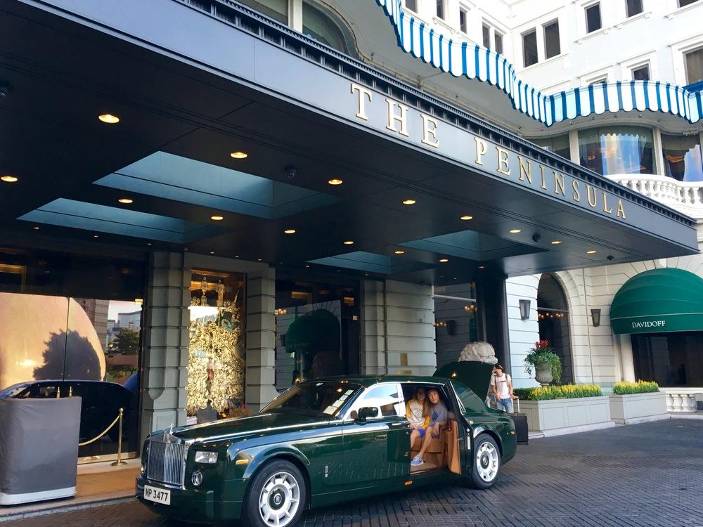 Departing in one of Peninsula's 14 bespoke Rolls Royces.