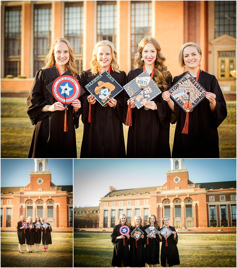 stillwater oklahoma 74074 oklahoma state university senior portrait photographer captured by karly cap and gown graduation group best friend senior photos