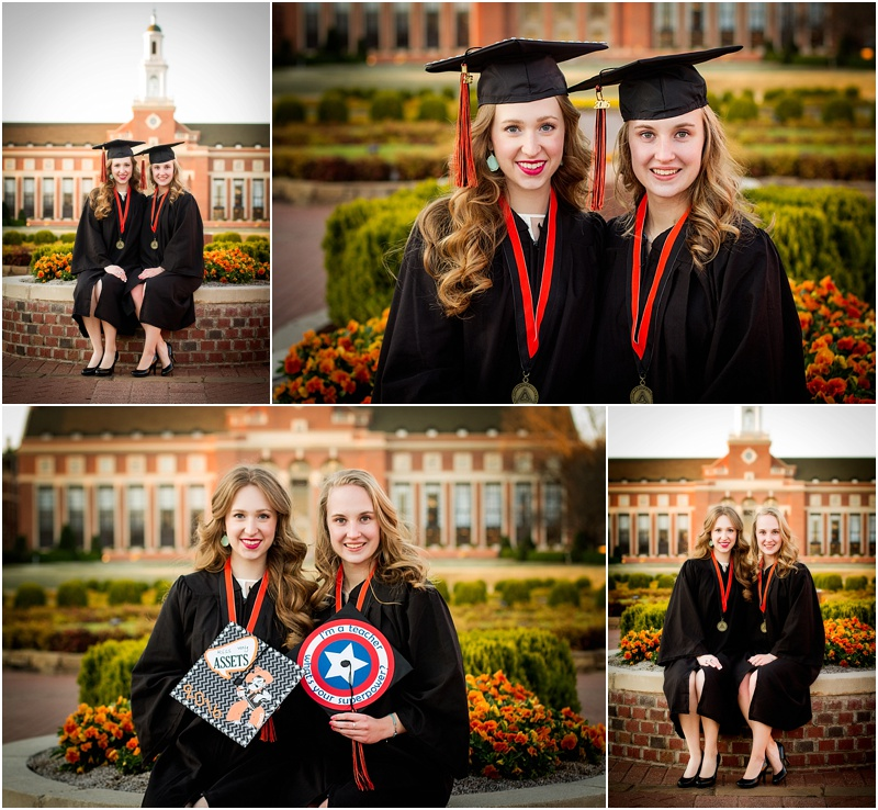 stillwater oklahoma 74074 oklahoma state university senior portrait photographer captured by karly twin sister cap and gown senior portraits