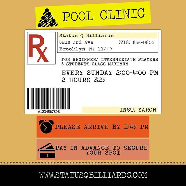 The #poolclinic is designed to help you reach your top potential as a player. Yaron will identify and correct your form flaws (we all have them). It doesn't matter how much experience you have – if you can't execute precisely and consistently, you're not going to get much better. You can only become as good a player as your flaws allow. | #statusq #statusqbilliards #sportsbar #bar #lounge #billiards #pool #brooklyn #newyork #ny #bk #8ball #9ball #10ball #apa #apaleague #poolleague #snooker #shanevanboening #efrenreyes #earlstrickland #beer #brooklynbar | Graphics by @gluteusmaxi_gus |