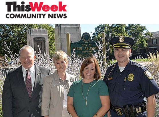 Founding members of The Stand Project include (from left) Upper Arlington Superintendent Paul Imhoff, The Stand Project Chairwoman Jenny Ledman, Drug-Free Action Alliance Executive Director Marcie Seidel and UA Police Chief Brian Quinn.