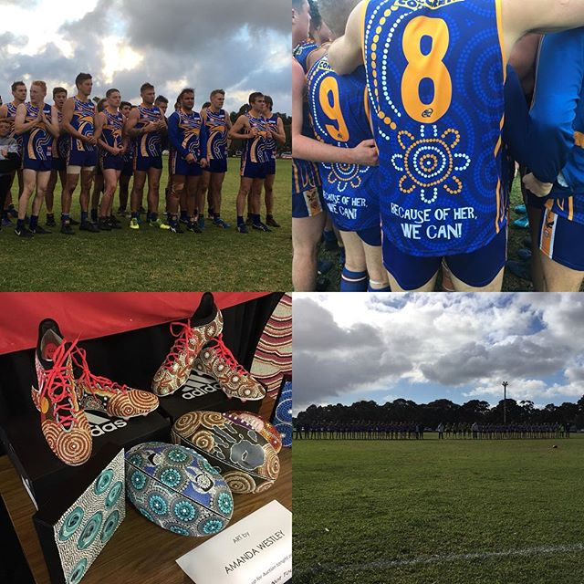 Inaugural Indigenous round for the Great Southern Football League - what a great player initiative paying respect to the owners of the land we play on. How is the amazing guernsey designed specifically for this round by a couple of the lads in/associated with the side?Although I would have loved to have been a part of this (we won) I'm also glad I have a broken thumb, as 5.3 degree temps with intense hail is not my idea of fun. Job boys - I'll be back when the weather warms up. #respect #indiginous #football #greatsouthernfootballleague #gsfl #amandaindigenousartist #indiginousart #sport #fun