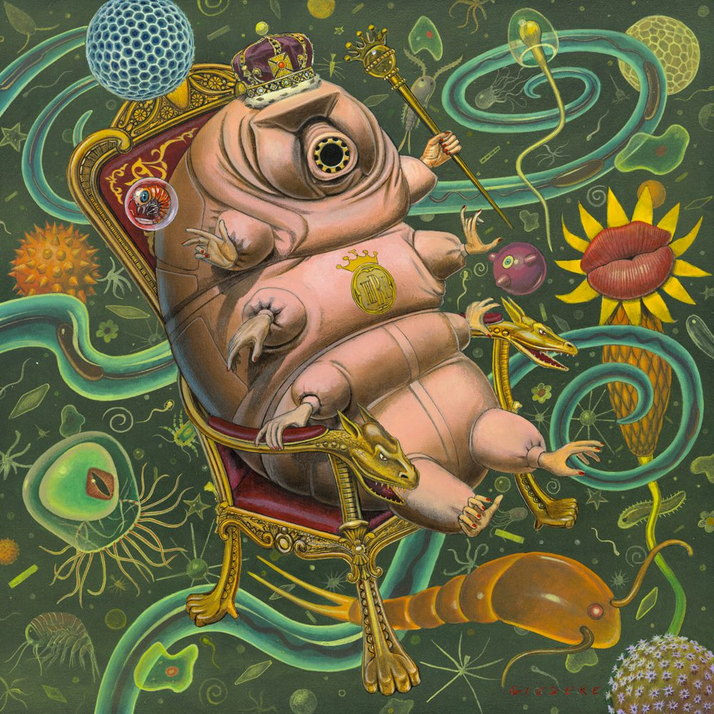 "The Tardigrade Queen  18"" x 18""  Acrylic on Canvas"