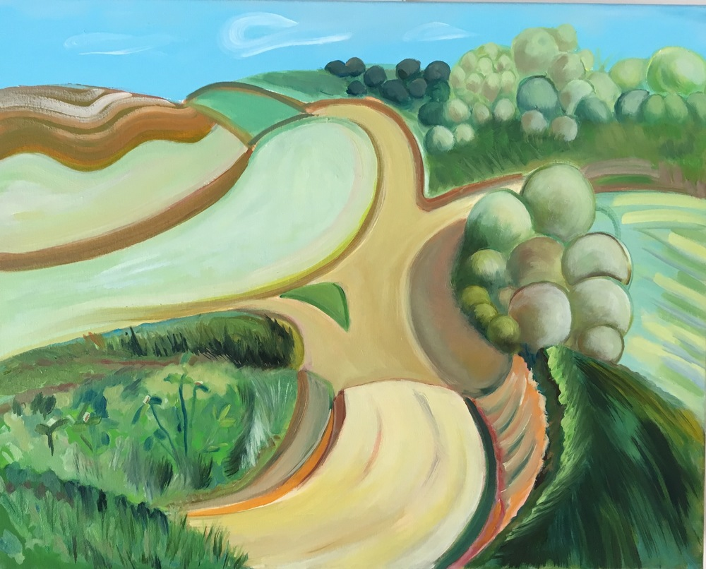 """Winding Road  20"""" x 16""""  Oil on Canvas"""