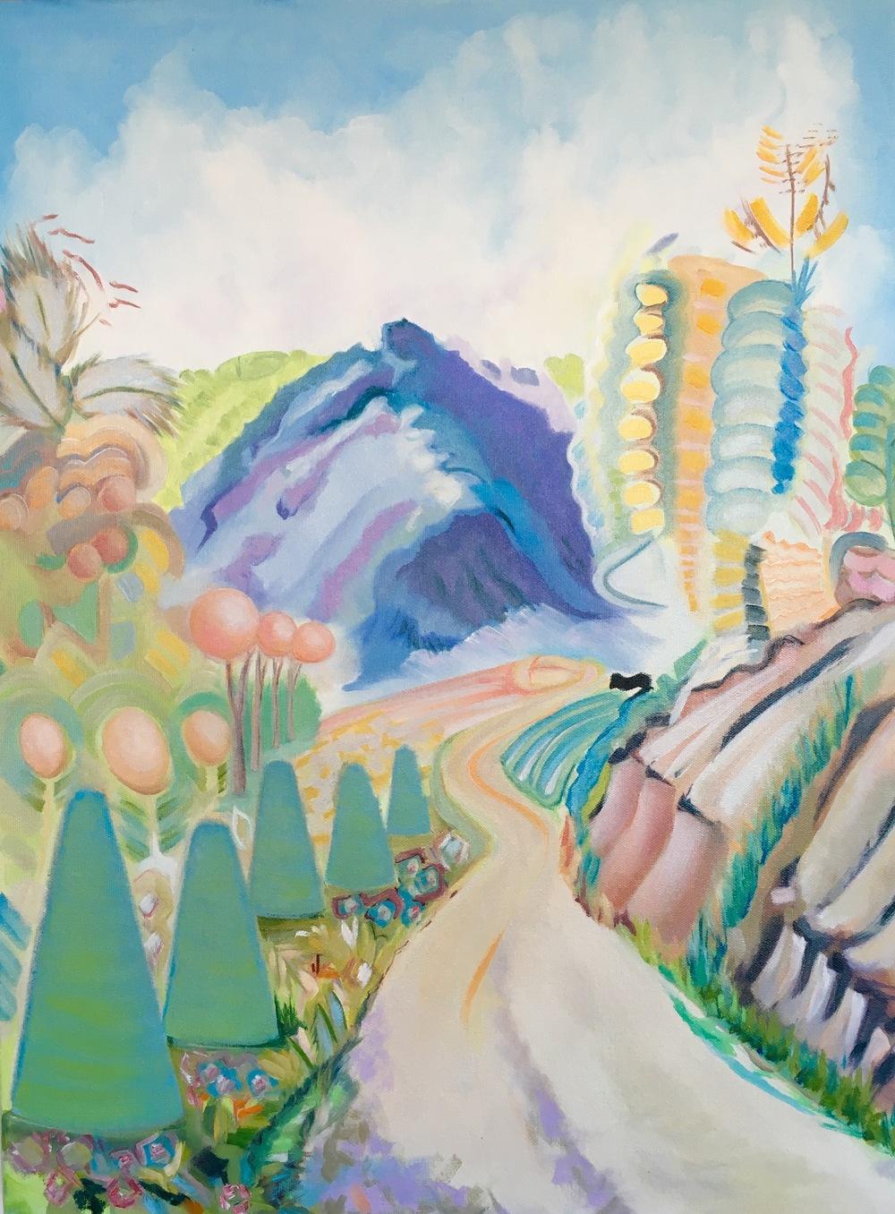 "Sawtooth Mountain Road  18"" x 24""  Oil on Canvas"