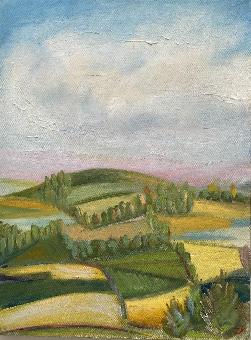 "Spring Lane  9"" x 12""  Oil on Canvas"