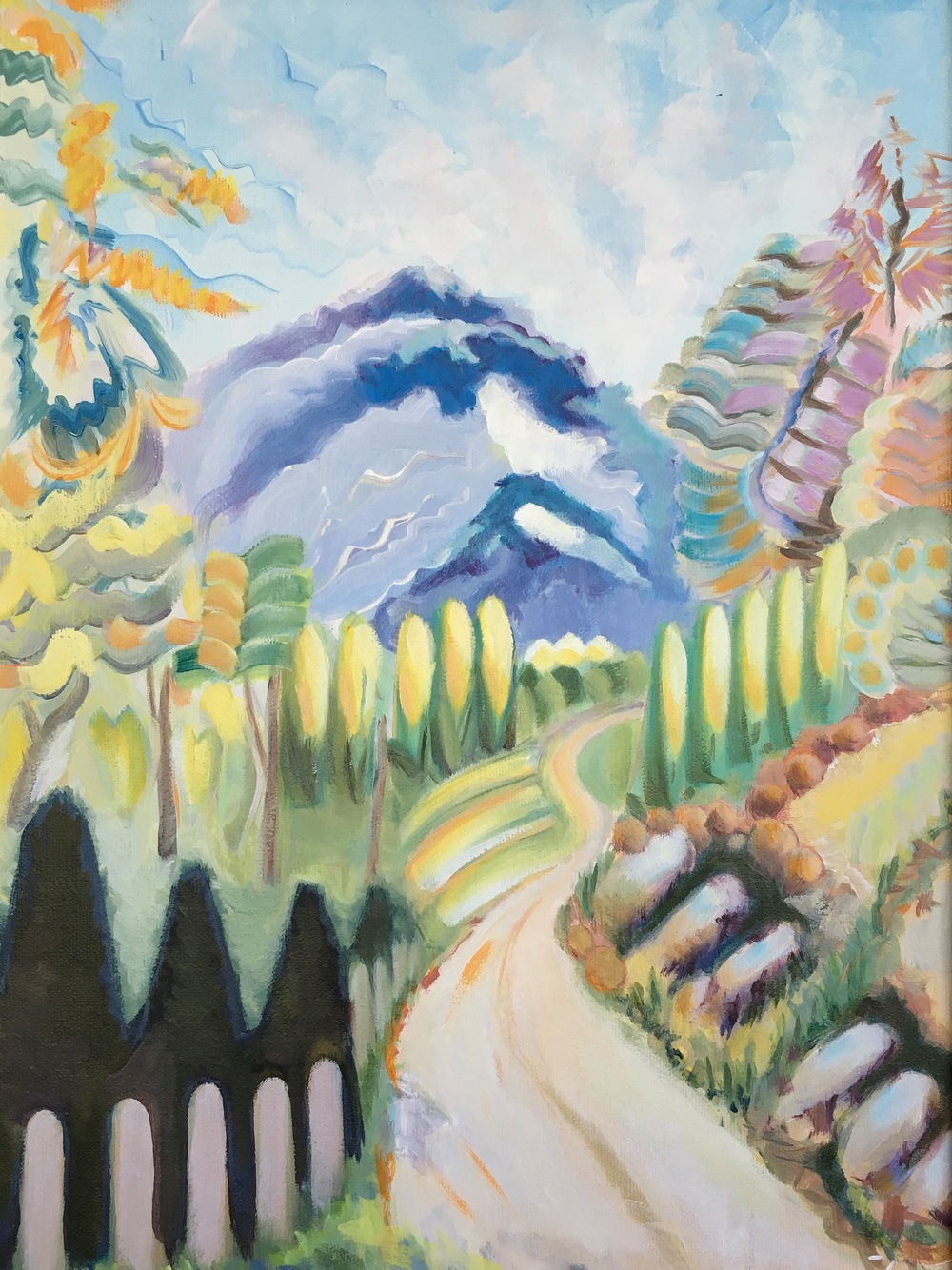 "White Boulder Lane  12"" x 16""  Oil on Canvas"